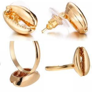 Golden conch shell Set earrings and ring